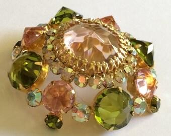 Gorgeous Vintage Schreiner N.Y Brooch Pin~Pink/Green/Aurora Borealis Rhinestones/Gold Tone~Signed