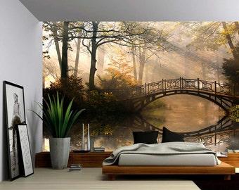 Autumn Park - Large Wall Mural, Self-adhesive Vinyl Wallpaper, Peel & Stick fabric wall decal