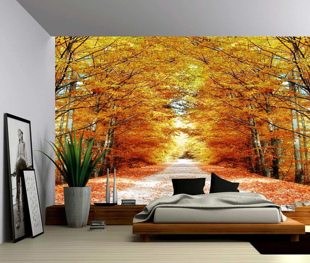 Autumn maple tree road large wall mural self adhesive vinyl for Autumn tree mural