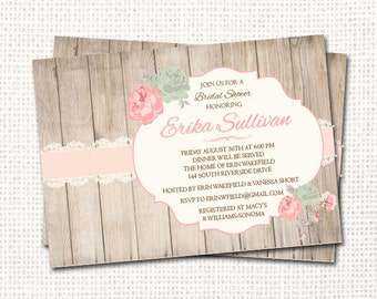 Shabby Chic Bridal Shower Invitation - Printable