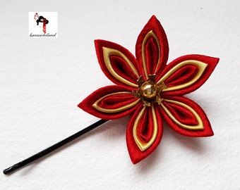 Japanese flower tsumami kanzashi, red and gold.