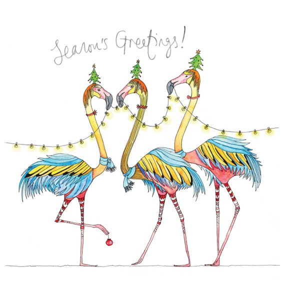 Festive flamingo Christmas card