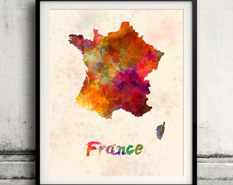 France - Map in watercolor - Fine Art Print Glicee Poster Decor Home Gift Illustration Wall Art Countries Colorful - SKU 1889