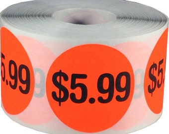 """Large 5.99 Price Stickers for Retail Stores and Garage Sales 