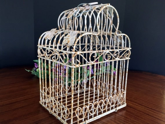 Small decorative birdcage shabby decor rusty cage with for Cage a oiseau decorative