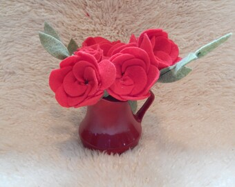Red Rose Bouquet in Pitcher, Felt Flowers, Valentines Day