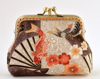 Hand crafted in Australia, gold embossed Japanese coin purse small bag makeup jewellery clutch wallet