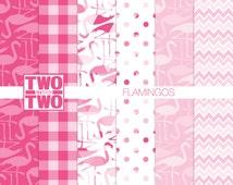 "Flamingo Digital Paper: ""PINK FLAMINGOS"" for Wall Art, Party Decorations"