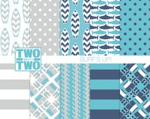 """Surfing Digital Paper: """"SURF'S UP!"""" with Surfboard and Waves Patterns for Party Invitations, Nursery Decor, Beach Wall Art"""