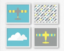 Airplane Prints in Gray, Aqua, and Yellow with Propellers and Clouds for Printable Nursery Art, Kid's Room Print, Playroom Decor