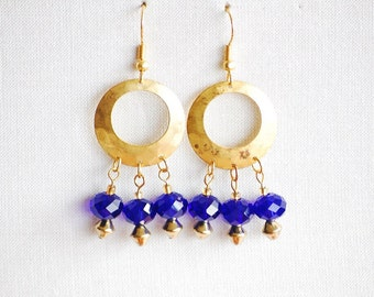 Royal Blue Crystal Earrings - Cobalt Blue Earrings - Gold Earrings - Blue Earrings - Gold Hoop Earrings - Crystal Blue Earrings - Crystal