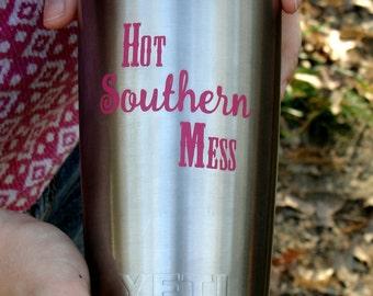 "Yeti with ""Hot Southern Mess"" Yeti Label, Yeti Tumbler Decal For Women, Yeti Vinyl Decal, Yeti Tumbler Personalized, Yeti Vinyl, Yeti Wrap"