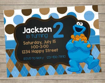 Cookie Monster Birthday Invitation ~ Sesame Street Friends Printable ~ Personalized ~ Digital Print Yourself ~ Birthday Party ~ Boy Birthday