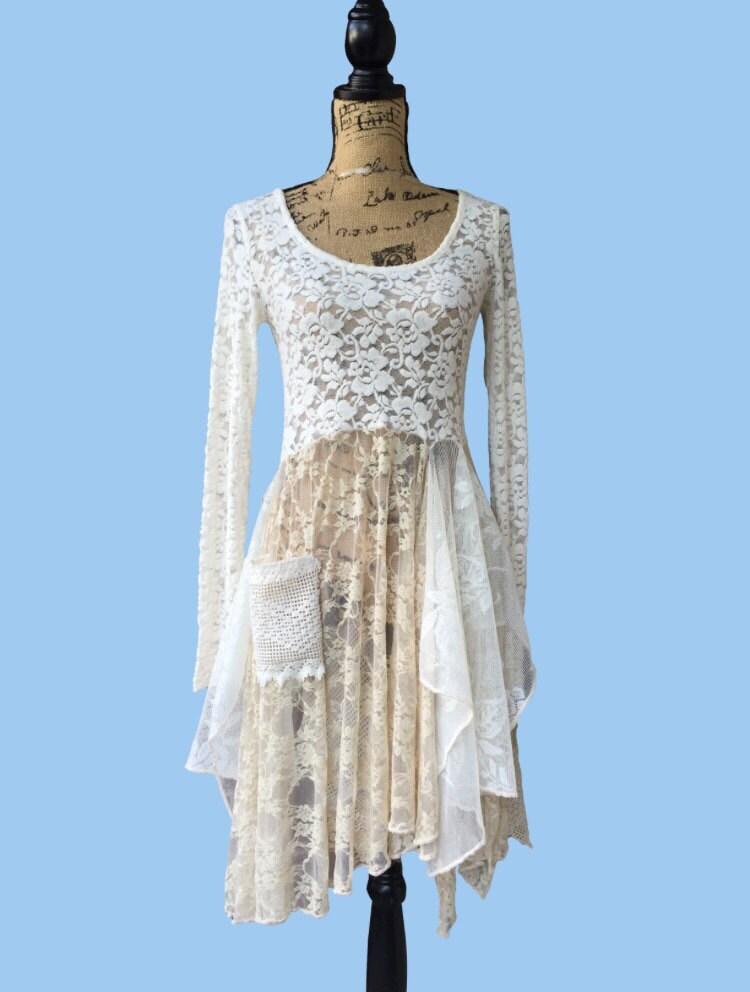 beach wedding lace dress lagenlook shabby chic by runway45bohochic. Black Bedroom Furniture Sets. Home Design Ideas
