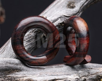 A Pair of Classic Organic Sono Wood Spiral Ear Taper Hanger