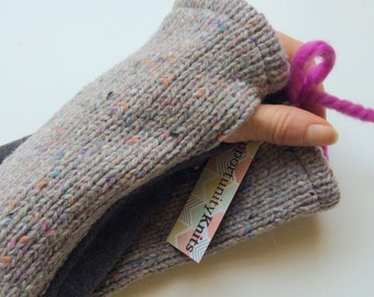 Fingerless Knit Mittens. Wool Knit Arm Warmers. Wrist Warmers. Handwarmers Knitted. Fingerless Gloves. Gray Wool Gloves. Gift for Her.