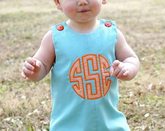 Monogram Boy Shortall,Longalls,Applique Boys Jon,Applique Aqua Shortalls,Applique Embroidered Jon Jon, Shortalls, Longalls