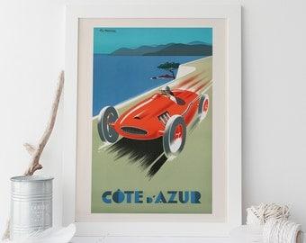 Cote D'azure Travel Poster Travel Print Art Deco Poster Art Deco Print Car Poster Giclee Grand-Prix High Quality Frame-Ready Ribba