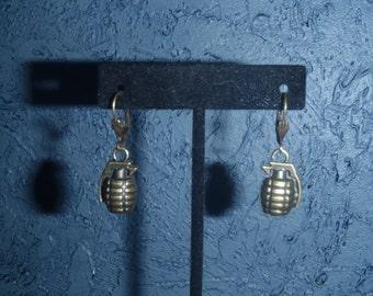 Brass Hand Grenade Earring Set - Chic, High Fashion, Steampunk, Gamer