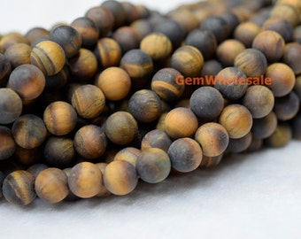 """15.5"""" Matte yellow tiger eye 8mm round beads, frosted yellow color semi-precious stone, DIY beads, jewelry supply, frosted yellow tiger eye"""
