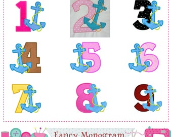 Anchor Numbers applique,Birthday numbers applique,Anchor applique,Numbers embroidery,Anchor,Numbers applique.-1661