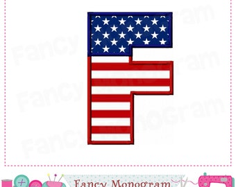 July of 4th Monogram F applique,Independence Day Letter F applique,F,Font F,Independence Day applique,the Old Glory,Patriots applique.
