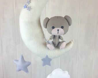 Baby mobile - teddy bear mobile - star mobile - blue mobile - moon mobile - cloud mobile - teddy bear nursery - nursery decor-