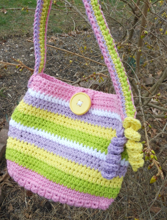 colorful crochet bag, little girls purse, girls carry all, over the...