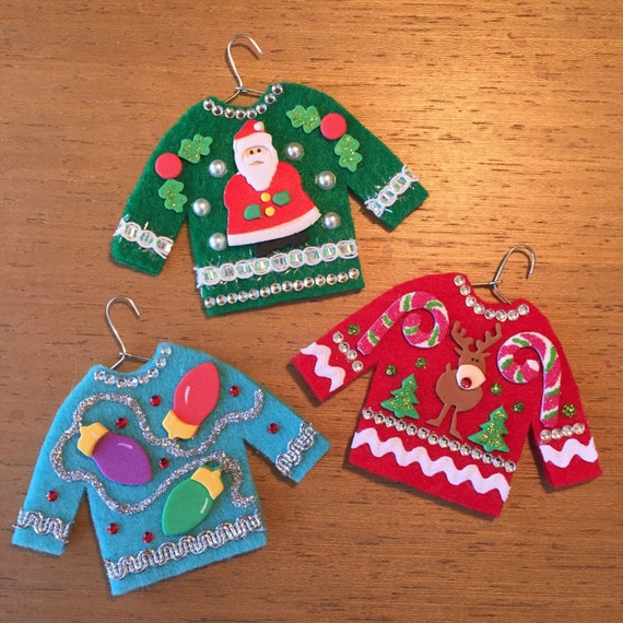Ugly christmas sweater ornaments reindeer santa lights