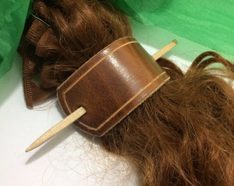 Handmade leather barrette, hair clips, with stick, hair picks accessories