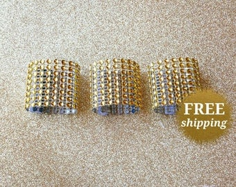 Gold Bling Napkin Rings Rhinestone Napkin Rings Gold Napkin Ring Diamond Crystal Special Event Napkin Rings