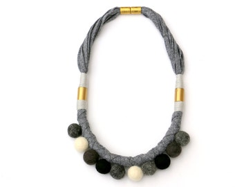 Pom pom necklace gray, fabric rope necklace with pom poms, gray black and white cotton rope necklace with brass and pom poms
