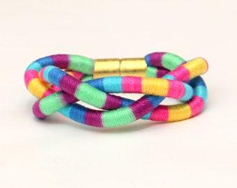 Colorful Braided Rope Bracelet, Textile Statement Bracelet, Big Cotton Bracelet, Multi Color Fabric Bracelet, Woven Bracelet