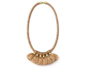 Tassel Fringe Necklace, Fiber Necklace Goldbrown, Wool Necklace, Statement Necklace, Tassel Jewelry, Unique Necklace, Gift For Her