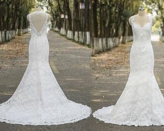 Elegant Lace Wedding Dress,White/Ivory Cap Sleeve Lace Bridal Gowns,Handmade Lace Mermaid Wedding Gowns,SweepTrain Lace Dress For Wedding