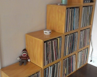Vinyl Record Storage Cube - Stackable LP Record Album Storage Shelf Natural - Fits 70 records - Lifetime Warranty - FREE SHIP (bs-scube-nl)
