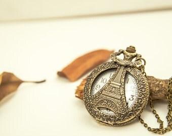 1 Eiffel Tower Pocket Watch Necklace Wedding Gift - C128