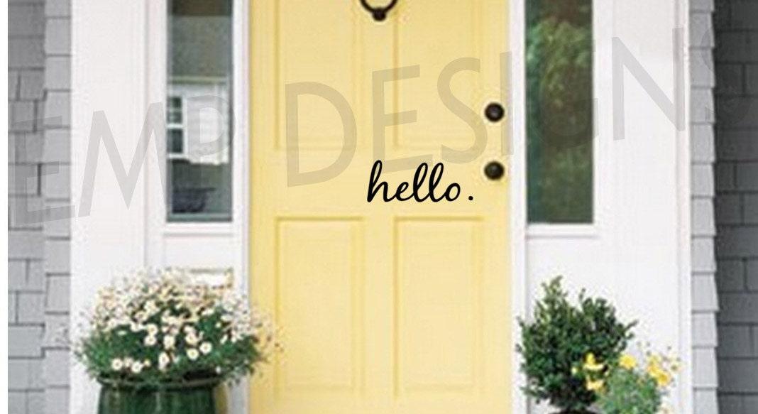 Hello Door Decal Hello Front Door Decal Front Door Decal