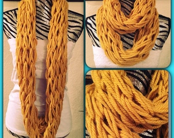 Arm Knitted Mustard Yellow Infinity Scarf