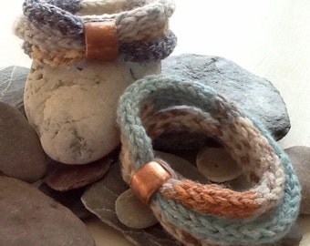 Handmade Knitted (l-chord) and Repurposed Copper Pipe Bead Bracelet