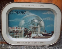 1967 World's Fair Expo Vintage collectible souvenir tray/ expo 67 pavilion of the United States/ Canadian World's Fair/ rustic home decor