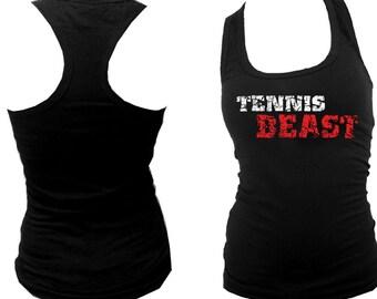 Tennis beast distressed print funny sport black slim fitted women or teens tank top