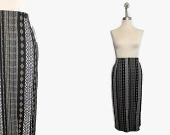 New 90s Boho Skirt / Bohemian Skirt / Long Maxi Skirt / Tribal Wrap Skirt Long / Large Skirt Aztec Print Deadstock 90s