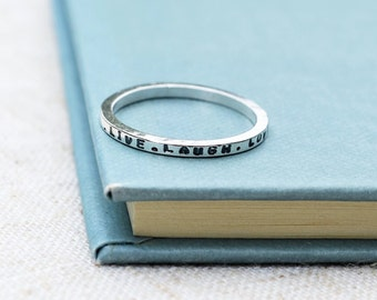 Sterling silver personalised skinny message stacking ring. Qoute jewellery, inspirational jewellery, message jewellery
