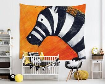 Zebra Tapestry, Nursery Tapestries, Illustration Wall Art, Orange Tapestry, Animal Wall Art, Animal Lover Gift, Children Room Art