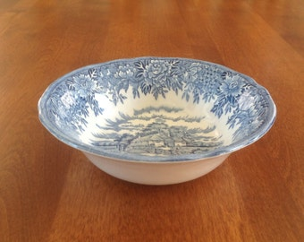Salem China Co ENGLISH VILLAGE Cereal Bowl  - Blue and White Transferware
