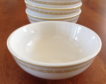 Four (4) Homer Laughlin ATHENA Greek Key Restaurant Oatmeal / Cereal Bowls (Eight Bowls Available)