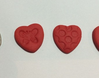 30 x valentines love hearts cupcake cake topper made from fondant gum paste