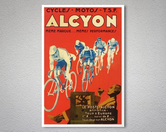 Cycles, Motos Alcyon  Vintage Bicycle Poster - Poster Print, Sticker or Canvas Print