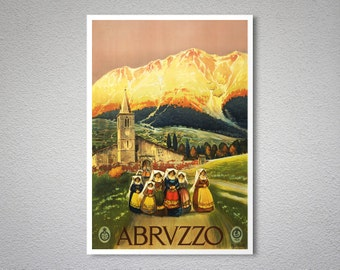 Abrvzzo  Abruzzo  Italy  Travel Poster - Poster Paper, Sticker or Canvas Print